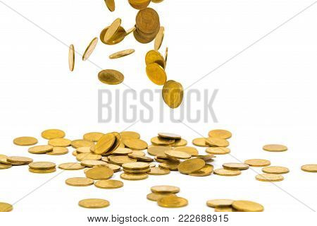 Figure Miniature Businessman Or Small People Standing On First Step Of Coin Stack And Look At The To