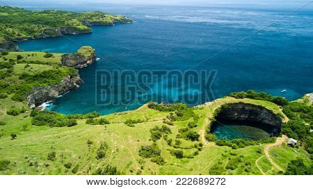 Aerial view of Broken Beach in Nusa Penida island, Bali, Indonesia