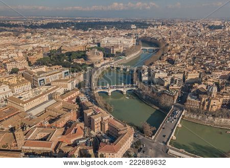 Cityscape of Rome, aerial view. Saint Angelo castle, bridges and Tiber river