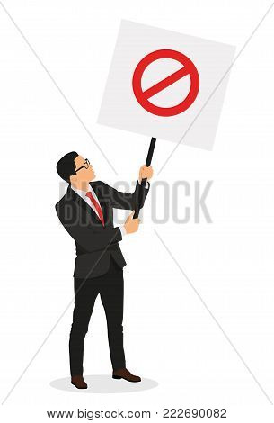 Business people demonstration or protest with placard. - stock vector.