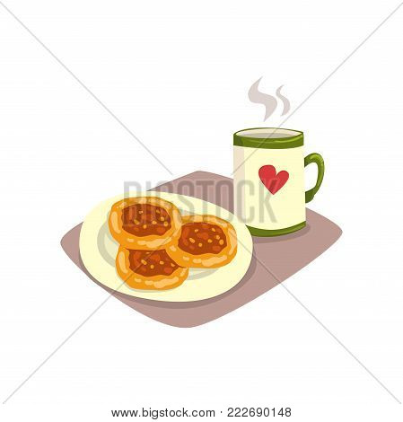 Big cup of hot tea or coffee and tasty homemade fritters on plate. Appetizing breakfast. Cartoon food and drink. Good morning concept. Vector illustration in flat style isolated on white background.