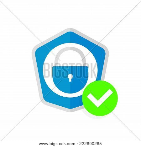 Abstract security vector icon illustration isolated on white background. Shield security icon. Lock security icon.