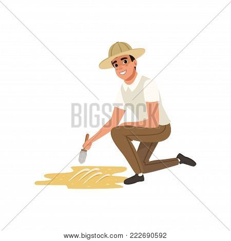 Smiling man sitting on one knee and sweeping dirt from skeleton s bones. Paleontologist using small brush. Cartoon male character in shirt, pants and archaeologist hat. Isolated flat vector design.