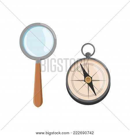 Icon of magnifying glass loupe with wooden handle and compass. Archeology symbols in flat style. Design for web site or mobile application. Cartoon vector illustration isolated on white background.