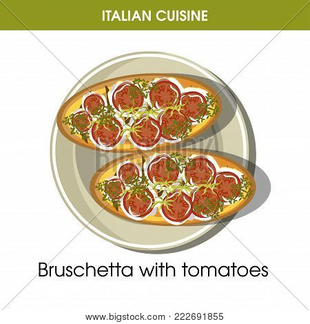 Italian cuisine Bruschetta bread appetizer traditional dish food icon for restaurant menu or recipe design template. Vector Italy cuisine bruschetta toast with tomatoes snack on plate for Italian cafe