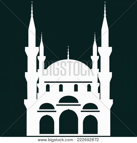 Mosque Icon.Mosque Vector on a black background