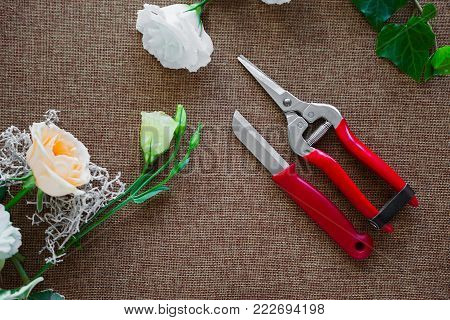 Florist Workplace. Tools And Accessories. Flowers, Pruner, Knife, Pins
