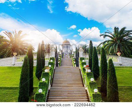 Bahai Gardens, located on the slopes of Mount Carmel in Haifa