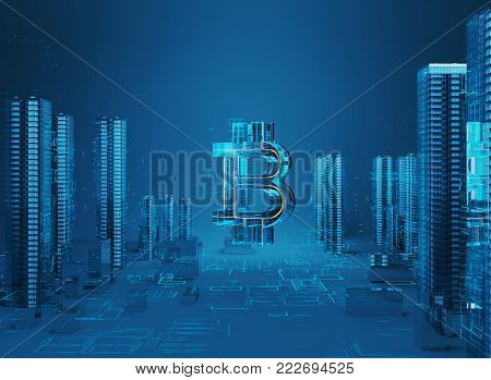 Business city bitcoin 3D illustration of bitcoin symbol rising from modern city on the waterfront Futuristic skyscrapers in the flow of information. The flow of digital data. city of the future 3d render. 3D illustration.