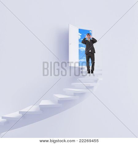 young man climbs the ladder