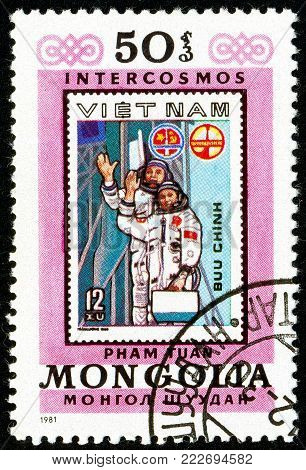 Ukraine - circa 2018: A postage stamp printed in Mongolia show Copy of Vietnam stamp about space. Series: Interkosmos program. Circa 1981.