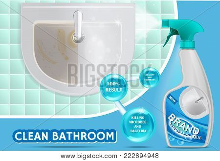 Clean bathroom concept vector 3d illustration. Realistic plastic spray bottle with detergent design. Liquid cleaning product, bathroom cleaner brand ad.