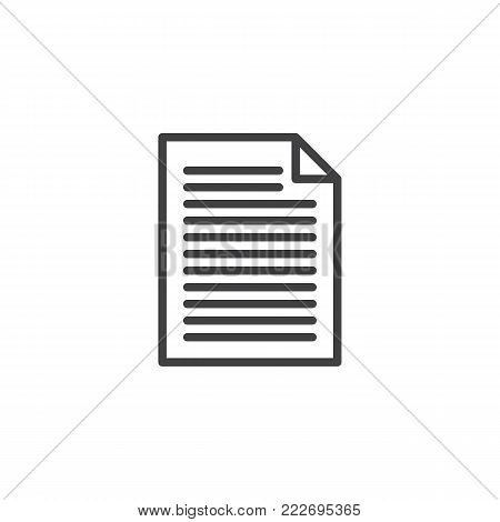 Document file line icon, outline vector sign, linear style pictogram isolated on white. Pape list symbol, logo illustration. Editable stroke