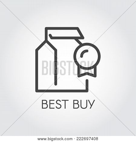 Best buy concept contour icon. Abstract package and winner badge. Template line pictograph for stores, shopping and mobile applications. Promotion, marketing and advertising sign. Vector illustration