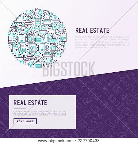 Rea estate concept in circle with thin line icons: apartment house, bedroom, keys, elevator, swimming pool, bathroom, facilities. Modern vector illustration for web page, print media.