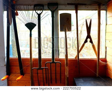 Garden tools hanging up in a shed, the tools are sillouetted by the shed window and view of garden behind, Garden spade, fork, shears etc