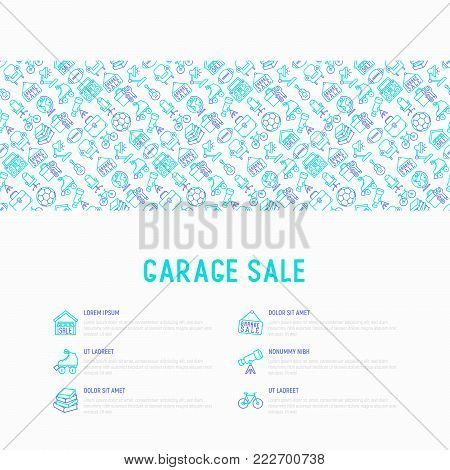 Garage sale concept with thin line icons: signboard, globe, telescope,guitar, rollers, armchair, toolbox, soccer ball. Modern vector illustration for banner, print media, web page.