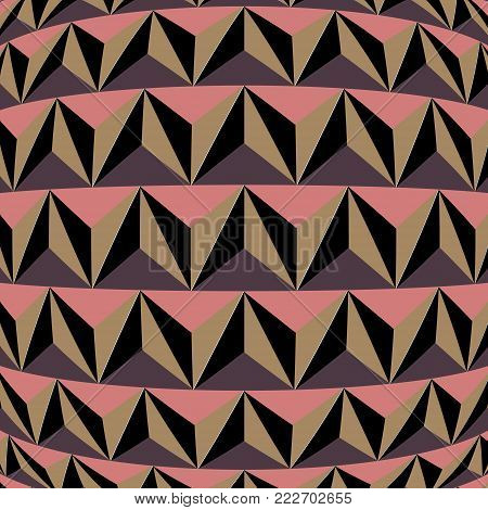 Geometric background with triangles. For the design of packaging, wallpaper, fabric, web. Visual distortion.