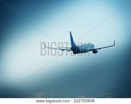 Airplane retract undercarriage after taking off stock photo