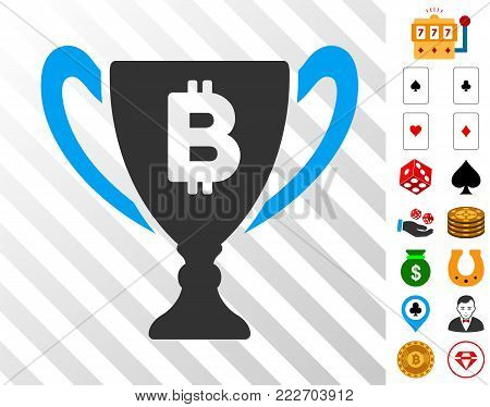 Bitcoin Award Cup icon with bonus gambling icons. Vector illustration style is flat iconic symbols. Designed for gamble ui.