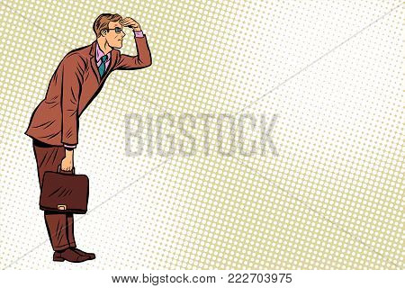 Businessman looking forward, watch. Pop art retro vector illustration