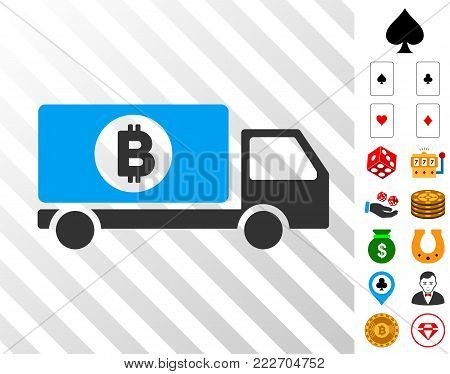 Bitcoin Delivery Lorry icon with bonus casino design elements. Vector illustration style is flat iconic symbols. Designed for gambling websites.