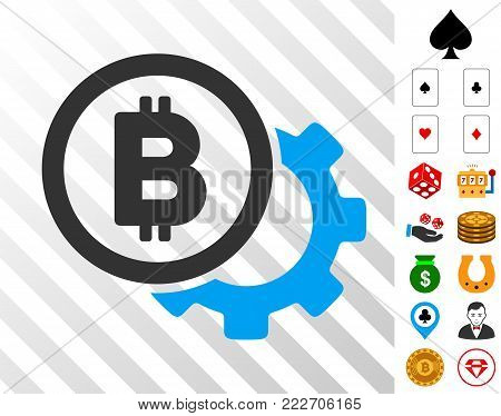 Bitcoin Options Cog icon with bonus gamble symbols. Vector illustration style is flat iconic symbols. Designed for gamble software.