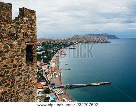 panorama of Sudak in the Crimea on the black sea view from the fortress