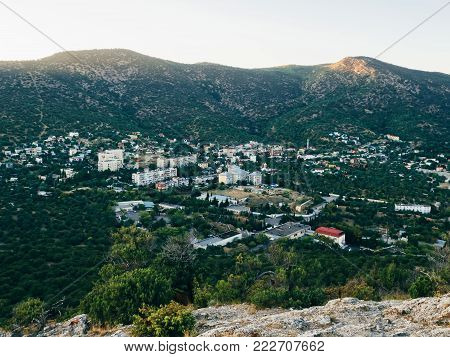 panorama resort town in the Crimea, between the mountains and forests in the summer