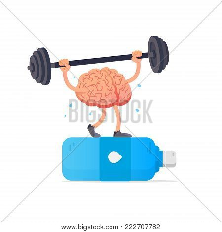 Water and brain. Creative concept brain lifts weights. Cartoon smart brain. Vector illustration. Flat style design