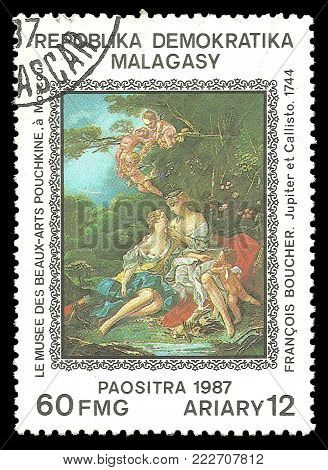 Madagascar - circa 1987: Stamp printed by Madagascar, Color edition on Art, Shows Painting Jupiter and Callisto by Francois Boucher, circa 1987