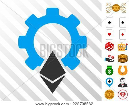 Ethereum Gear pictograph with bonus gambling pictograms. Vector illustration style is flat iconic symbols. Designed for gambling apps.