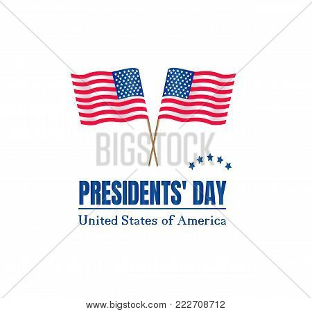 Presidents Day on USA flag with American. Happy presidents day poster vector illustration