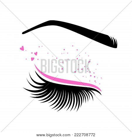 Pink makeup for Valentine's day. Vector illustration of lashes and brow. For beauty salon, lash extensions maker, brow master.