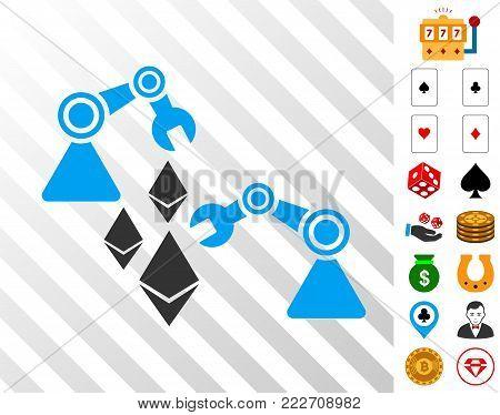 Ethereum Mine Robotics icon with bonus casino symbols. Vector illustration style is flat iconic symbols. Designed for gambling gui.