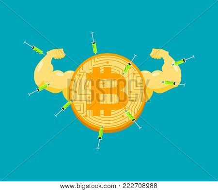 Doping for Bitcoin. Strong crypto currency and steroids. Syringe with anabolic. Bodybuilder coin. Vector illustration poster