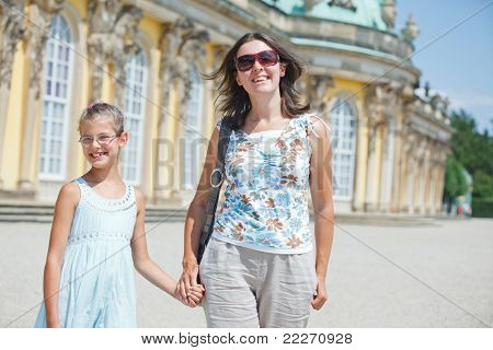 Tourists walking in Sans Souci