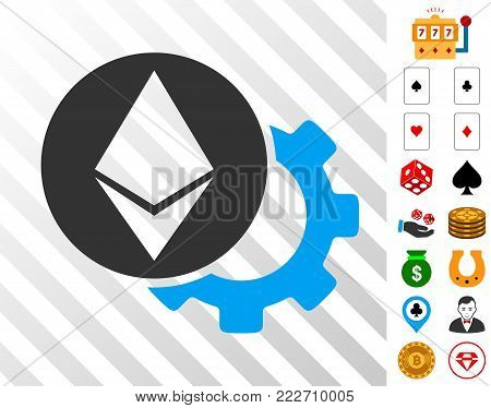 Ethereum Settings Gear pictograph with bonus casino graphic icons. Vector illustration style is flat iconic symbols. Designed for gamble apps.