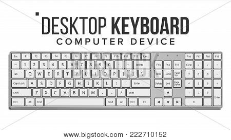 Desktop Keyboard Vector. Classic. Top View. Modern Computer Electronic Device. Isolated On White Illustration