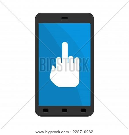 Virus in smartphone. Cyber attack for phone. Fuck on screen. Blocked Gadget does not work. Vector illustration