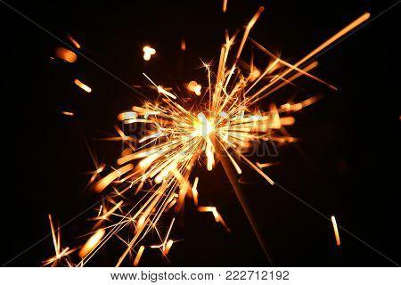 Christmas celebration a magic illuminated bengal fire
