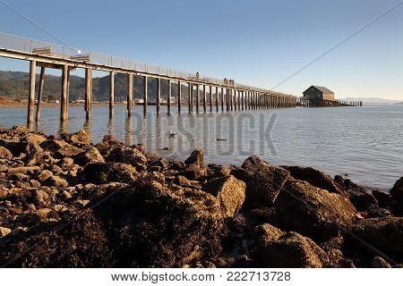 Piers End on Tillamook Bay in Garibaldi, Oregon, USA. Piers End on Tillamook Bay in Garibaldi, Oregon. Pacific Northwest.