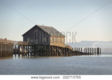 Piers End on Tillamook Bay, Oregon. Piers End on Tillamook Bay in Garibaldi, Oregon. Pacific Northwest.