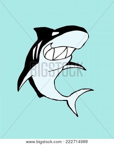 Shark. Smiling shark character. Vector illustration on blue background
