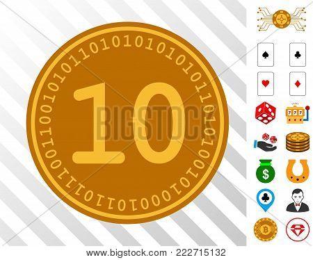 Ten Digital Coin icon with bonus gamble clip art. Vector illustration style is flat iconic symbols. Designed for casino ui.