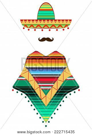 portrait of  Mexican man in sombrero and poncho, sketch vector illustration isolated on white background. Colorful drawing of Mexican man in traditional clothes and mustache icon template