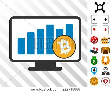 Bitcoin Bar Chart Monitoring icon with bonus gambling icons. Vector illustration style is flat iconic symbols. Designed for gamble software.