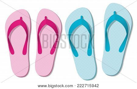 Sandals or flip flops - two pairs of summer fun footwear for man and woman - symbolic for love couple on beach holiday, honeymoon or romantic recreation - isolated vector illustration on white.
