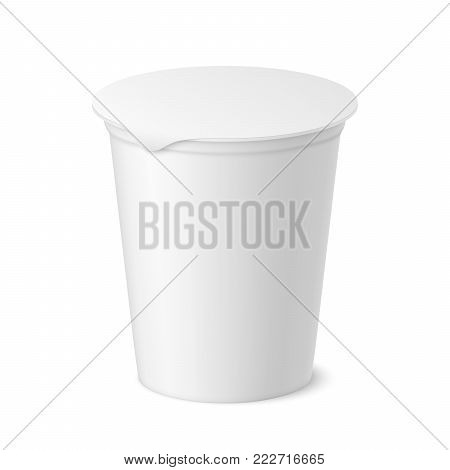 Vector realistic yogurt, ice cream or sour creme package on white backgrounnd. 3D illustration. Mock up of plastic container with lid isolated. Template for your design. Side view.