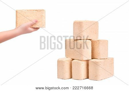 Briquettes of eco firewood on a white background